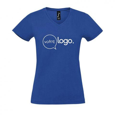 Femme t-shirt personnalisé publicitaire avec un col V pour femme IMPERIAL