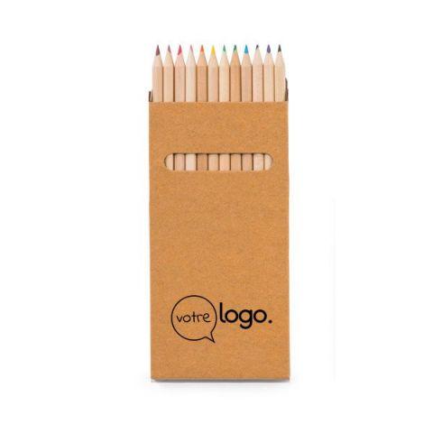 Boîte publicitaire avec 12 crayons de couleur