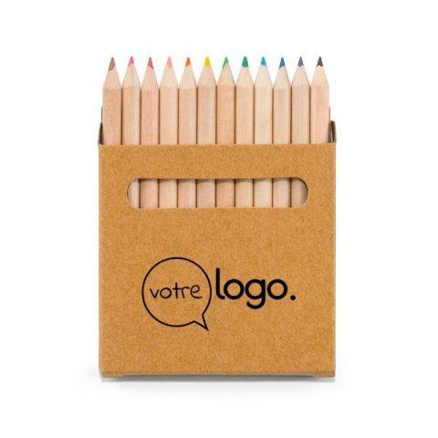 Boîte personnalisée avec 12 crayons de couleur