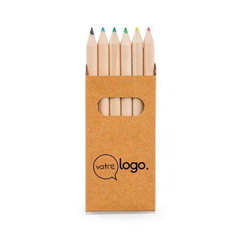 Boîte personnalisée  avec 6 crayons de couleur