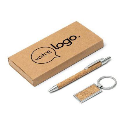 Ensemble publicitaire stylo et porte-clés