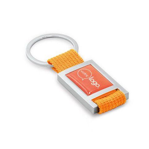 Porte-clés publicitaire métal et webbing