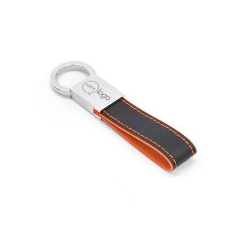 Porte-clés publicitaire simili cuir et métal avec mousqueton