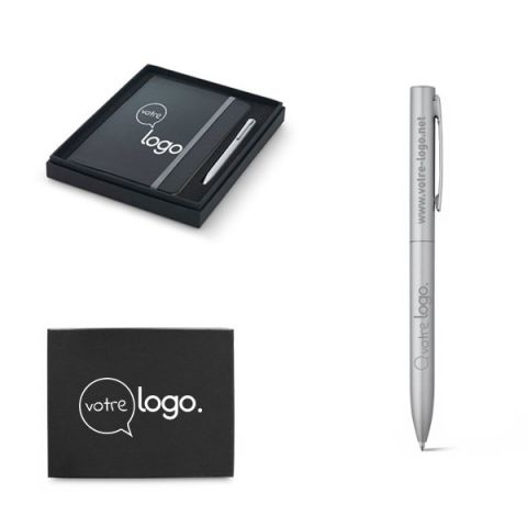 Coffret publicitaire stylo à bille et bloc-notes