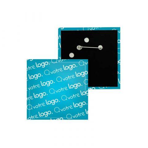 Badge carré publicitaire avec épingle - 52x52mm
