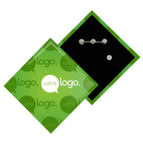 Badge losange personnalisable avec épingle - 80x80mm