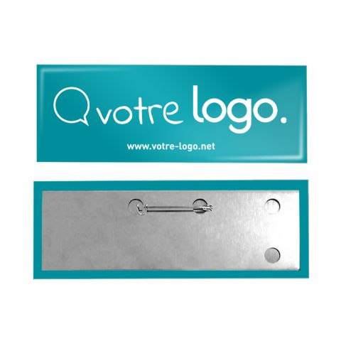 Badge rectangle personnalisable avec épingle - 115x40mm