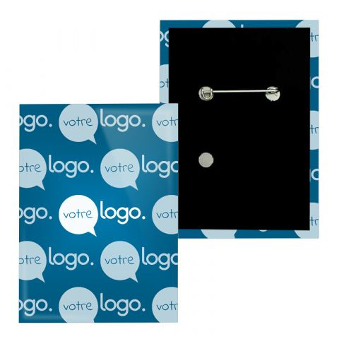 Badge rectangle personnalisable avec épingle - 65x90mm