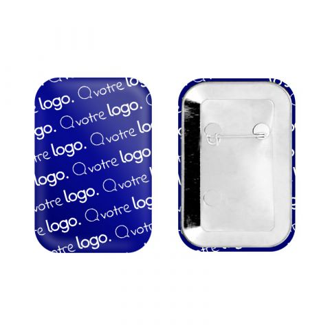 Badge rectangle avec coins arrondis personnalisable avec épingle - 45x68mm