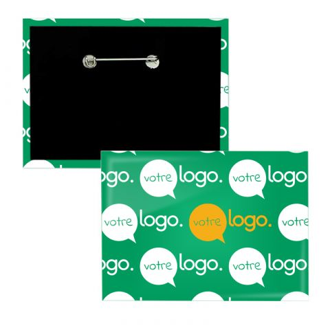 Badge rectangle publicitaire avec épingle - 80x54mm