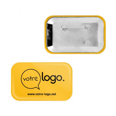 Badge rectangle avec coins arrondis publicitaire avec épingle - 80x54mm