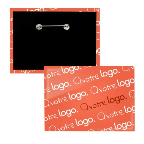 Badge rectangle publicitaire avec épingle - 90x65mm