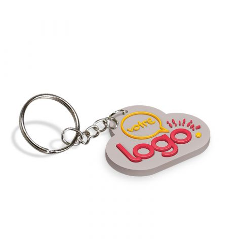 Porte-clés personnalisable en PVC souple 2D - de 41 à 50mm
