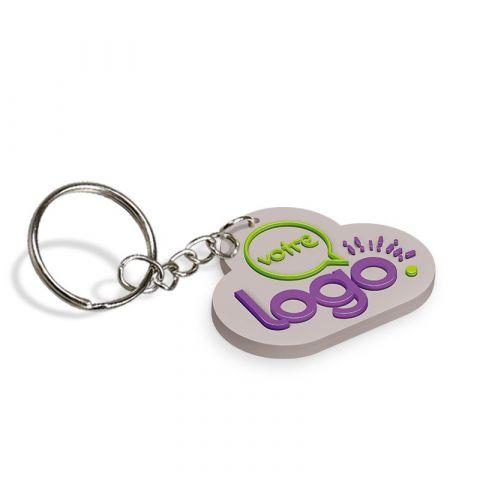 Porte-clés publicitaire en PVC souple 2D - de 51 à 60mm