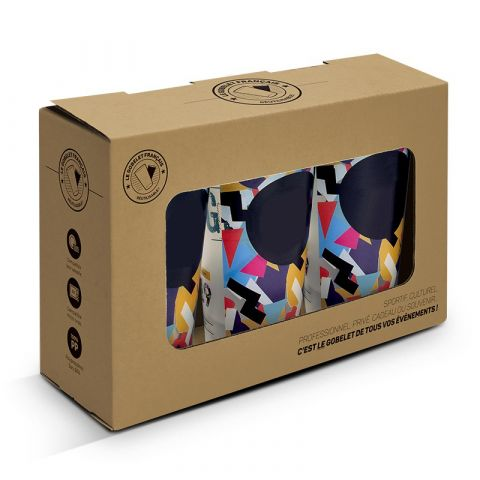 Boite en carton avec fenêtre pour 3 ou 6 gobelet