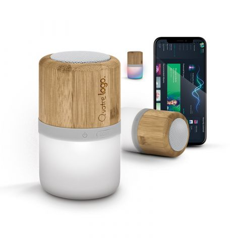 Enceinte personnalisé avec haut-parleur BT sans fil et lampe en bambou