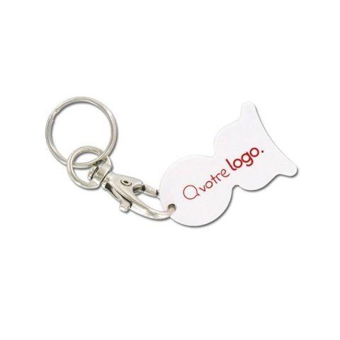 Porte-clé mousqueton publicitaire avec jeton personnalisable