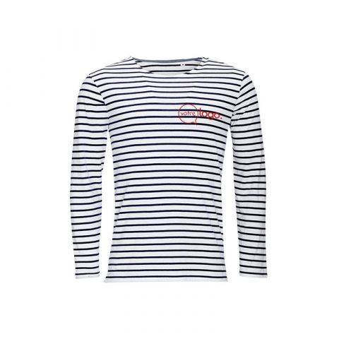T-shirt personnalisé publicitaire pour homme à manches longues rayées MARINE