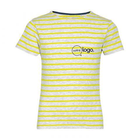 T-shirt rayé pour enfant à col rond personnalisé publicitaire MILES KIDS