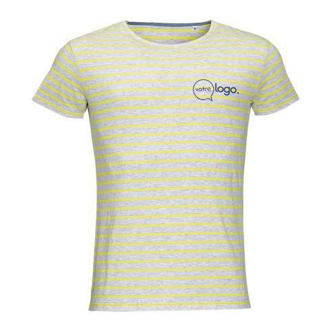 T-shirt personnalisé publicitaire pour homme rayé à col rond MILES