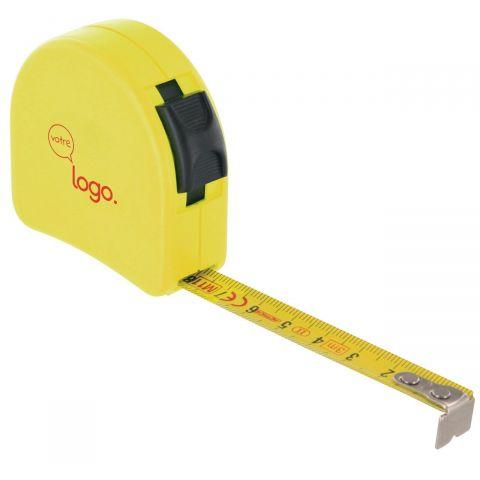 Mesure: Mètre publicitaire ruban jaune face plate personnalisé 3m x 16mm