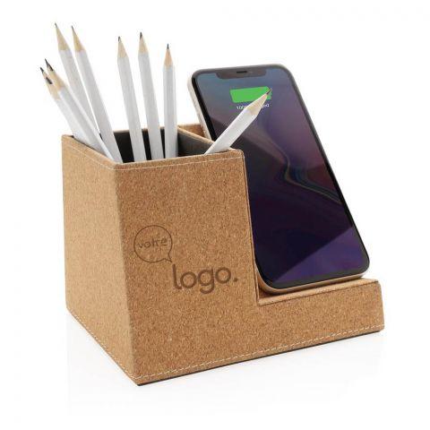 Porte-stylo en liège et chargeur sans fil