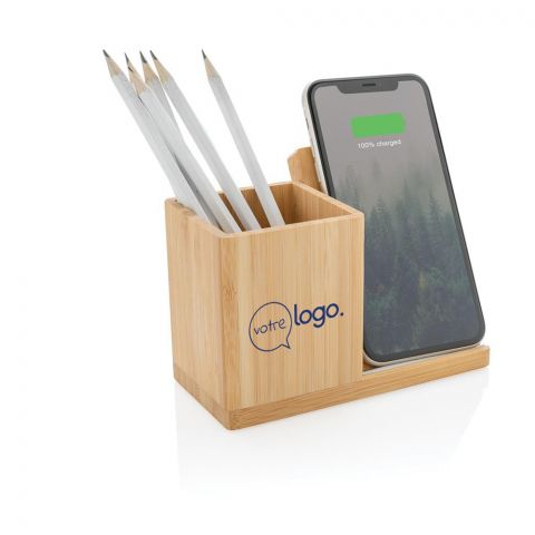 Chargeur publicitaire sans fil en bambou 5W avec porte-stylo Calgary