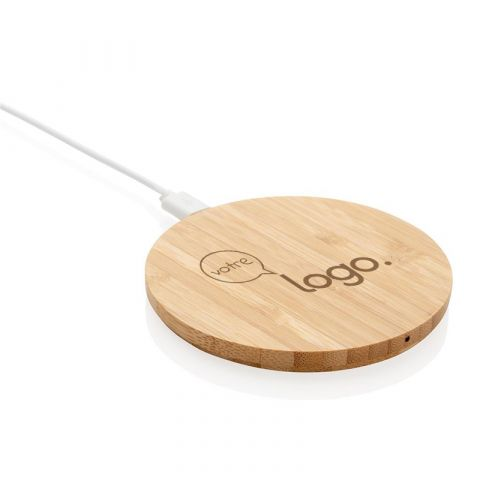 Chargeur rond à induction 5W personnalisable en bambou naturel