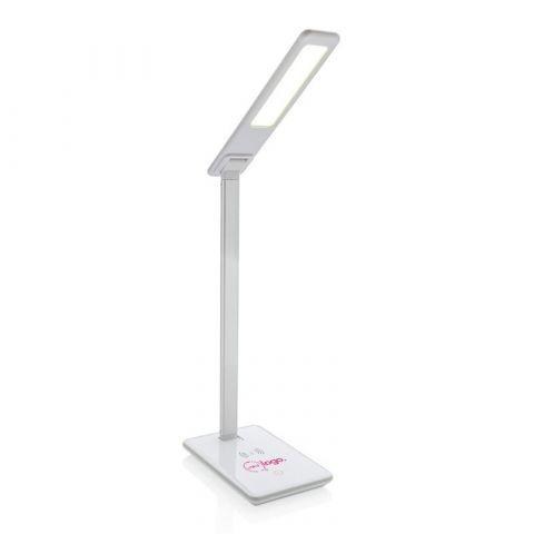Lampe de bureau publicitaire blanche avec chargeur à induction 5W