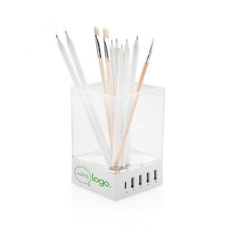 Porte-crayon publicitaire avec chargeur USB