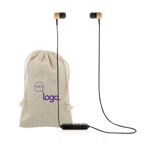 Ecouteurs personnalisés sans fil en bambou