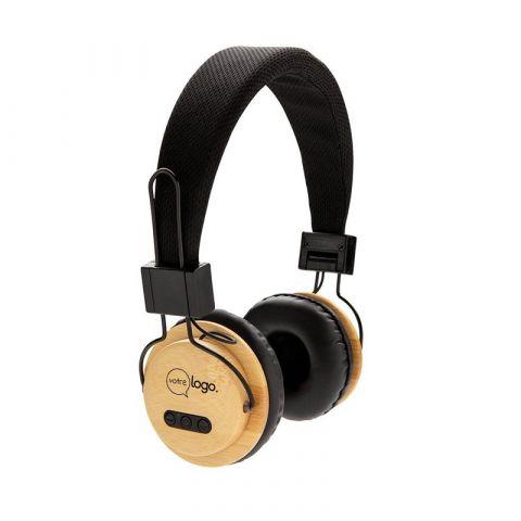 Casque audio sans fil en bambou personnalisable