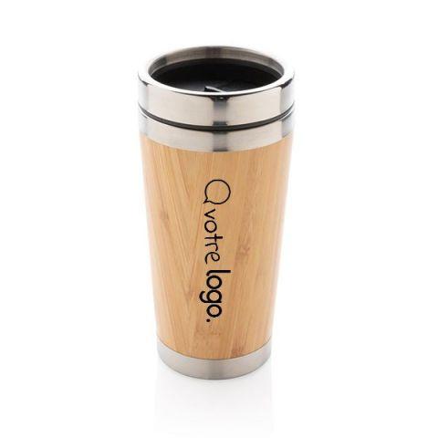 Mug publicitaire avec double paroi en bambou