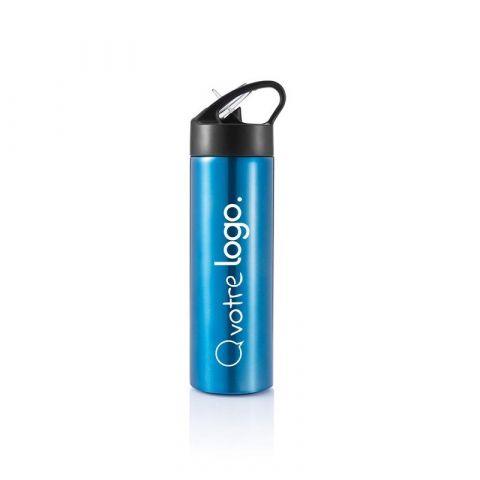 Bouteille d'eau publicitaire avec paille Sport