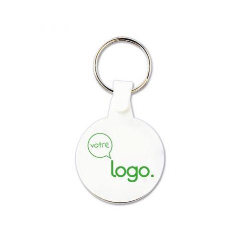 Porte-clés publicitaire rond en plastique souple