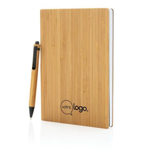 Set publicitaire carnet de notes A5 et stylo en bambou