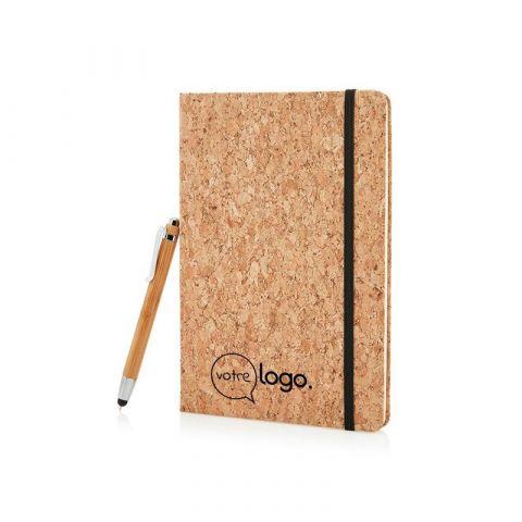 Carnet de notes en liège personnalisé avec stylo en bambou