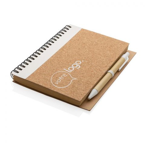 Cahier à spirales personnalisé en liège avec stylo