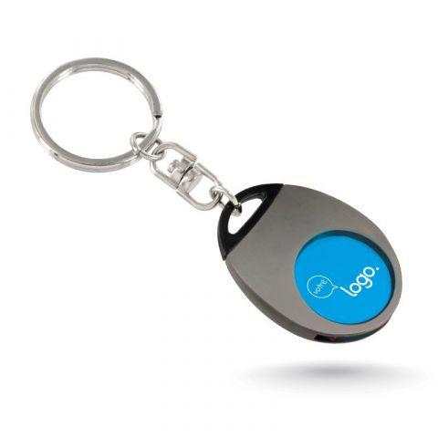 Porte clé publicitaire en métal avec jeton en plastique