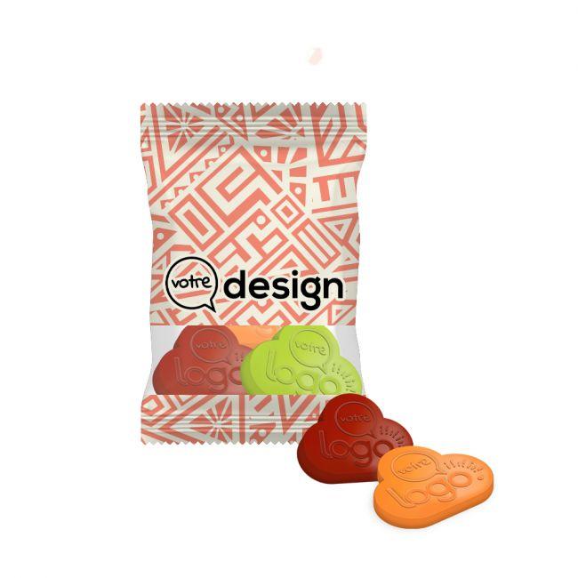 Sachet 10g transparent de mini gommes de fruits 100% personnalisées