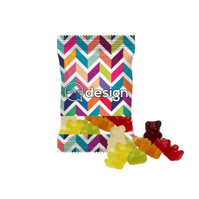 Bonbons oursons XXL en sachet 20g transparent personnalisé