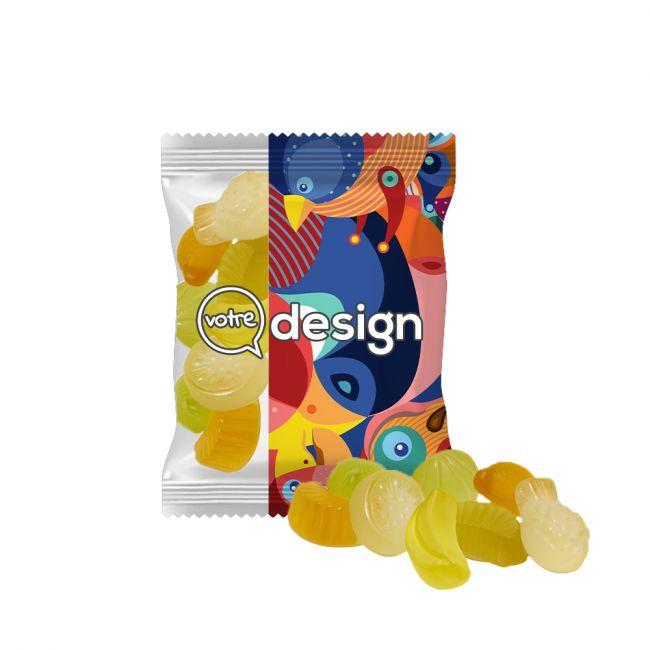 Sachet 15g transparent publicitaire de gommes mélange de fruits acidulés