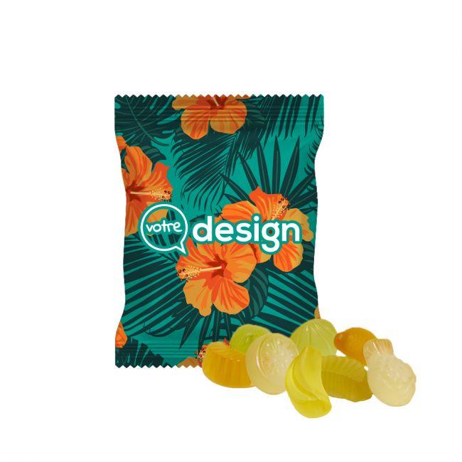 Sachet 15g opaque personnalisé de gommes mélange de fruits acidulés