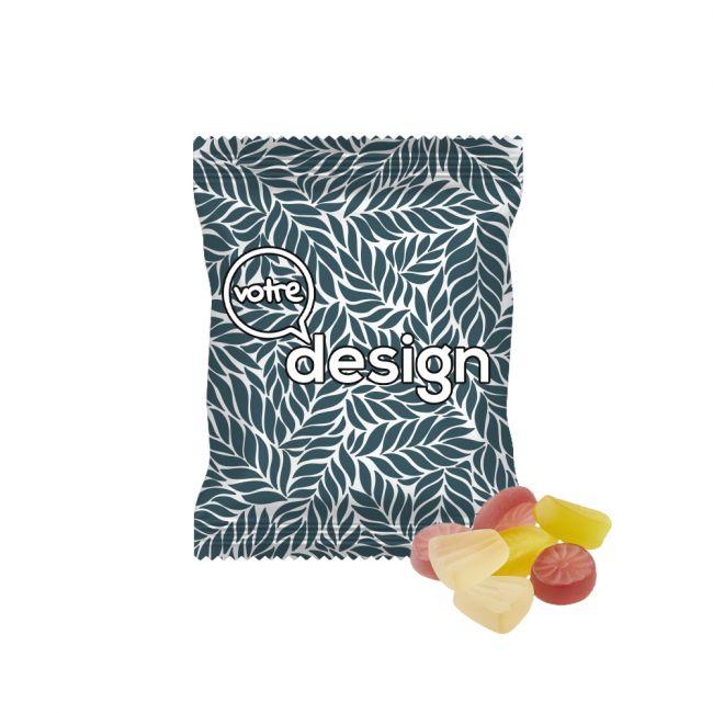 Gommes de fruits exotiques VEGAN emballage publicitaire opaque  20g