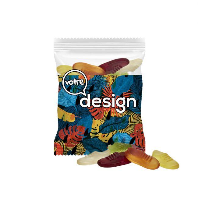 Sachet 20g transparent publicitaire gommes de fruits vegan en forme de baskets