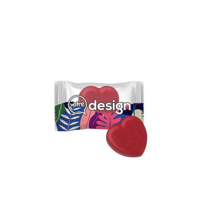 Bonbons publicitaires en forme de cœur en sachet individuel transparent