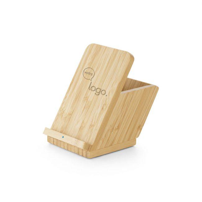 LEAVITT. Chargeur publicitaire sans fil en bambou