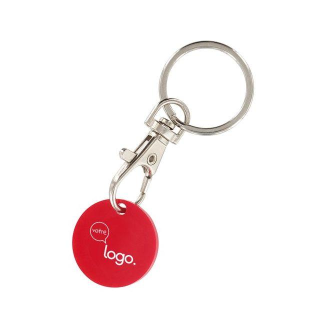 Porte-clé mousqueton publicitaire avec jeton caddie