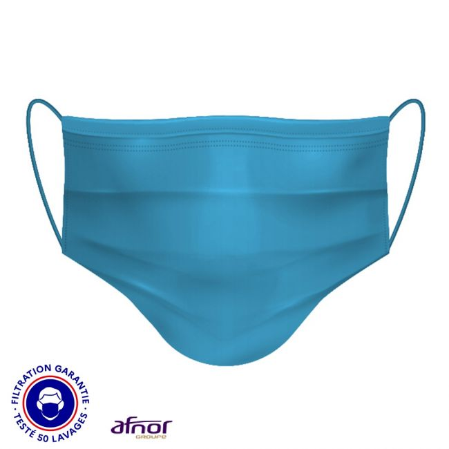 Masque filtrant lavable uni coloré - Certifié AFNOR