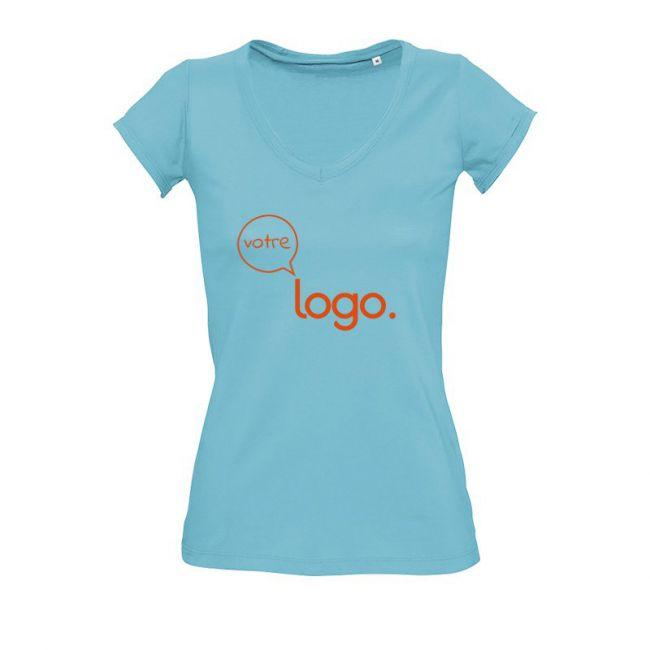 T-shirt personnalisé publicitaire en col «V» pour femme MILD